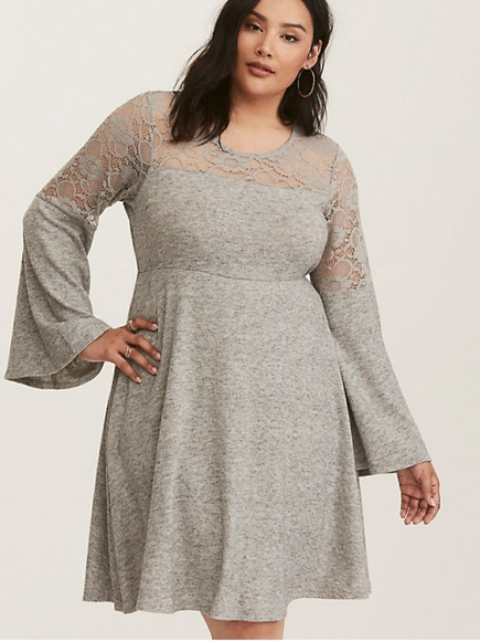 7b91f1531c GREY BELL SLEEVE LACE INSET WOVEN SKATER DRESS